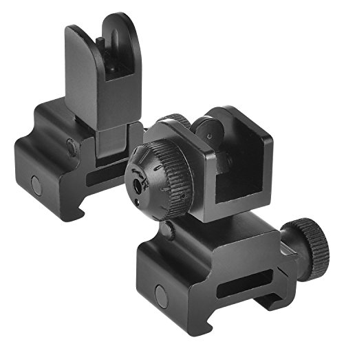 CVLIFE Flip Up Backup Iron Battle Sights Dual Apertures Rear Front Sight for Rifle Rails