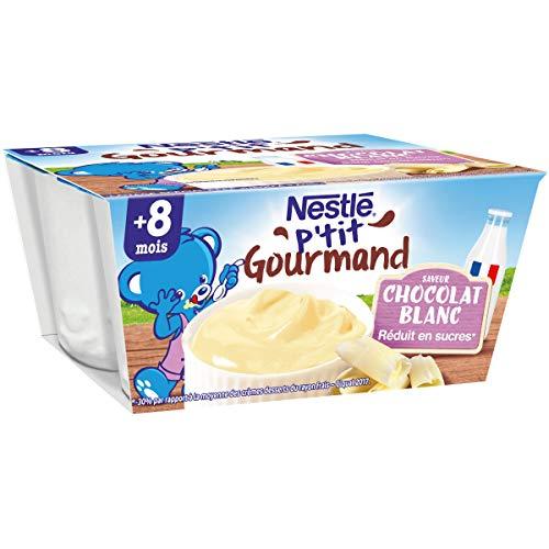 Nestlé Bébé P'tit Gourmand Saveur Chocolat Blanc - Laitage dès 8 mois - 4 x 100g
