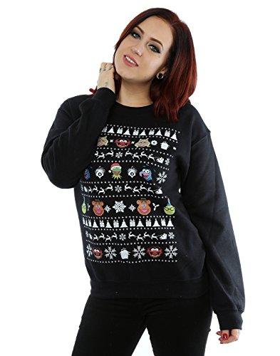 Disney Women's The Muppets Christmas Heads Sweatshirt X-Large Black