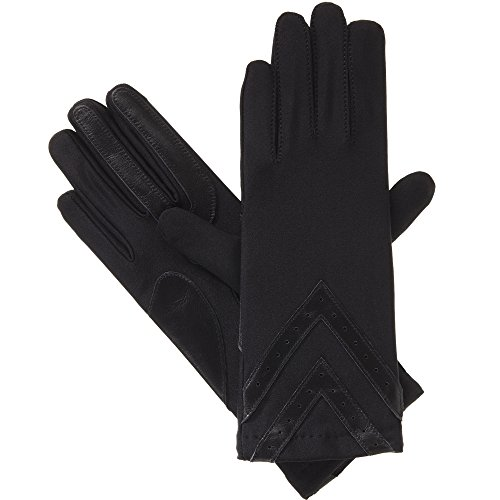 isotoner womens Spandex Touchscreen Cold Weather With Warm Fleece Lining and Chevron Details Winter Gloves, Black, Large X-Large US