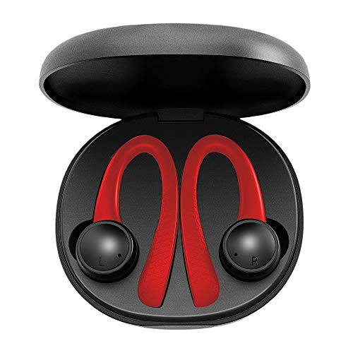 Jarv Active Motion True Wireless Earbuds - 5.1 Stereo Bluetooth Headphones with Protective Charging Case, Ear-Hook Design Sweatproof Sport Earphones, Built-in Mic and 20 Hours of Playtime - Red/Black