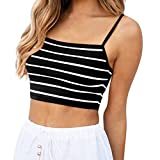 POLP Crop Top Camiseta sin Mangas para Mujer Camiseta de Tirantes de Rayas Ejercicio y Fitness Tank Tops de Mallas y Bodies XS/S/M/L/XL