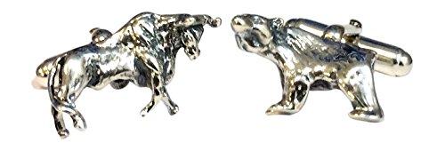 Bull Bear en argent Sterling et boutons de manchette