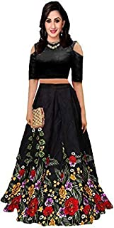 b0cb5646d9 ORICET Women's Bangalori Satin Long Skirt Gown and Top (Black, Free Size)