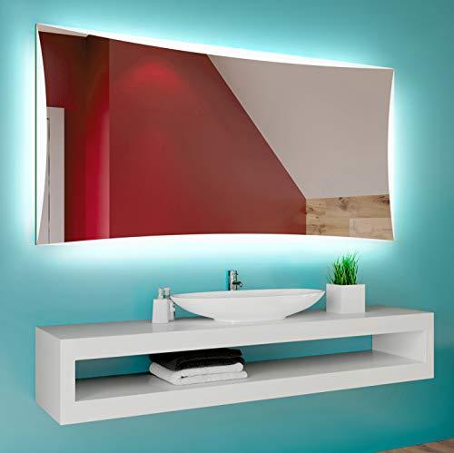 Badspiegel 100x60cm mit LED Beleuchtung - Wählen Sie Zubehör - Individuell Nach Maß - Beleuchtet Wandspiegel Lichtspiegel Badezimmerspiegel - LED Farbe zu Wählen Kaltweiß/Warmweiß L77