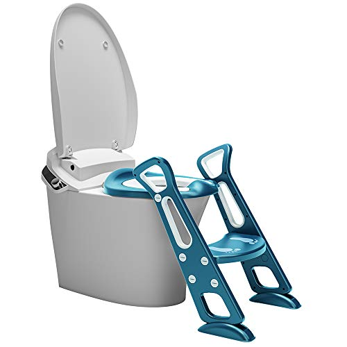 Potty Training Seat with Ladder, Potty Seat, Potty Chair, Toddler Potty Training Toilet Seat, Lake Blue
