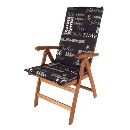 Spetebo Pflegeleichtes Polster für Hochlehner - schwarz - Gartenstuhl Auflage mit Haltegurt - Sitzkissen Stuhlauflage