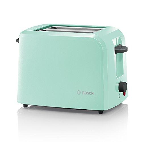 Bosch TAT3A012 CompactClass Kompakt-Toaster, Auftaufunktion, versenkbarer Brötchenaufsatz,Abschaltautomatik, 980 W, türkis
