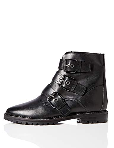 Marca Amazon - find. Three Buckle Leather Biker Botines, Negro Black, 41 EU