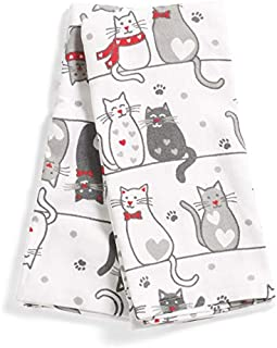Casaba Whimsical Cat Lover Kitchen Hand Tea Towel Set of 2 100% Ultra Absorbent Cotton