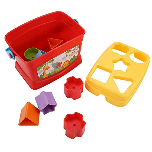 Vormsorteerder Speelgoed, kinderen Vormsorteerder Kleurrijke geometrische vormblokken en sorteerder Sorteerkubus Kartonnen doos Verlichting Educatieve vormaanpassing Bouwsteenspeelgoed(Vierkant)