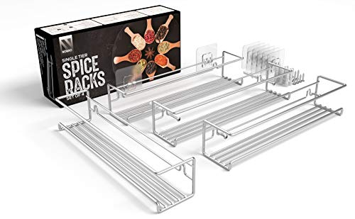 NOBRO® Gewürzregal - 4er Set Gewuerzregal - Individueller Einsatzzweck - Stabil und langlebig - Inkl. Befestigungs-Tools - Gewürzregal ohne Bohren - Gewürzregal für Küchenschrank - Silber