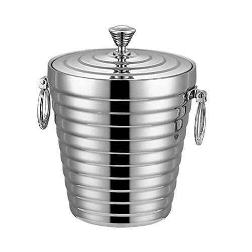 AWJ Cubo de Hielo Grande |Enfriador de Vino con cubeta de Hielo para champán de Acero Inoxidable (1.2L / 2.0L) (Tamaño: Pequeño)