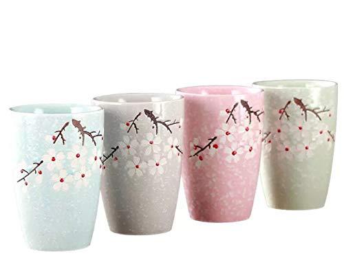 YBK Tech Juego de 4 tazas de té de cerámica de estilo japonés con diseño de flor de Sakura