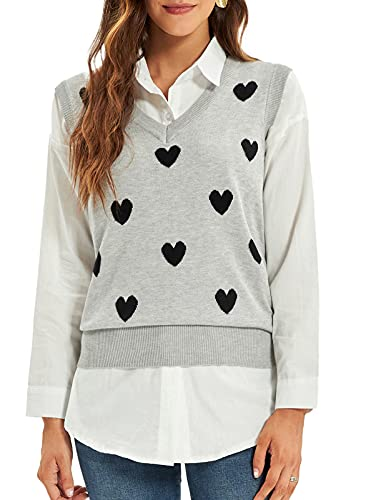 GRACE KARIN Women Sweetheart Pattern Sweater Vest V-Neck Sleeveless Knitwear Light Gray S