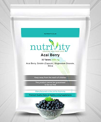 Acai Berry 2000mg Tablet Big Dose Antioxidant, Energy Booster by Nutrivity (30)