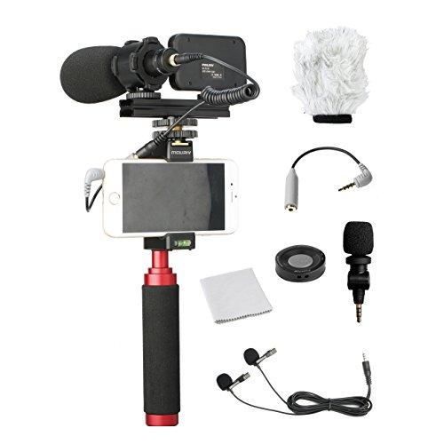 Mouriv PV-1 smartphone-videokit met handgreep, professionele videomicrofoons, LED-licht en draadloze afstandsbediening voor YouTube Vloggen Facebook voor iPhone 6, 7, 8, X, XS Max, Samsung Galaxy