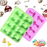 2Pcs Funny Sexy Silicone Mold Creative Funny Candy Chocolate Molds 8-Cavity Non-Stick Baking Mold Ice Cube Tray for Cake Jelly Pudding Handmade Soap