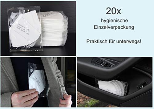 20x einzeln verpackte FFP2 Mundschutz, CE Zertifiziert und DEKRA geprüft nach EN149: 2001 + A1: 2009, Faltbare Halbmasken mit Nasenbügel und weichen elastischen Ohrschlaufen - 4