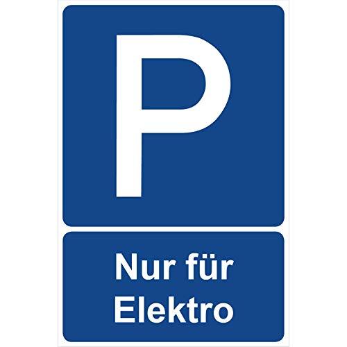 Parkplatzschild Nur für Elektro Parken Schild Blau 30 x 20 x 0,3 cm Kunststoff Parkplatzmakierung Parken Parkplatzschilder Parkplatz Hinweisschild, Verbotsschild, Parkplatz Freihalten