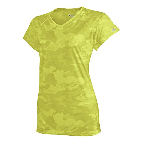 Champion by Women's Essential Double Dry V-Neck Tee_Safety Green Camo_Medium