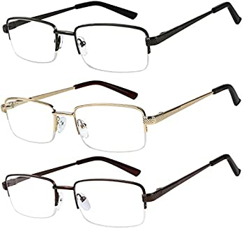 Success Eyewear Reading Glasses Set of 3 Half Rim Metal Glasses for Reading Quality Spring Hinge Readers Men and Women +2.5