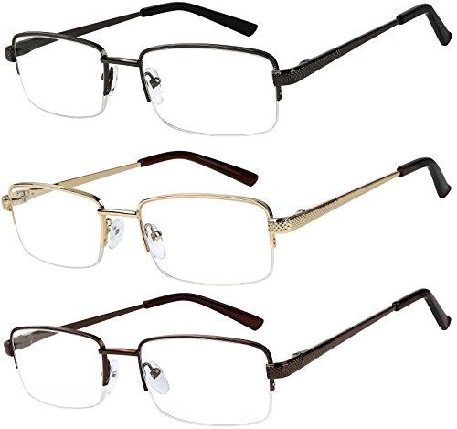 Reading Glasses Set of 3 Half Rim Metal Glasses for Reading Quality Spring Hinge Readers Men and Women +1.75