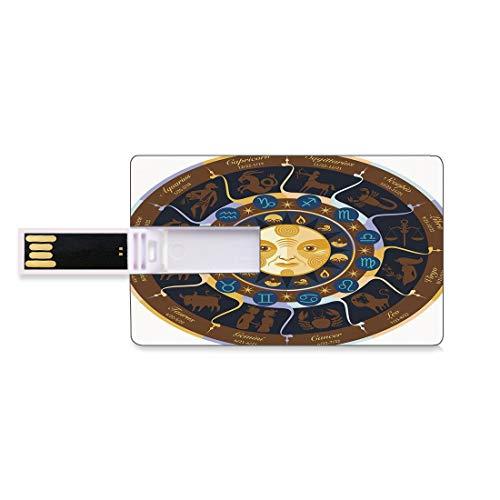 8GB USB-Flash-Thumb-Laufwerke Astrologie Bank Kreditkarte Form Business Key U Disk Memory Stick Speicher Widder Stier Zwillinge Krebs Leo Jungfrau Waage Skorpion Horoskop Zeichen,braun gelb und blau