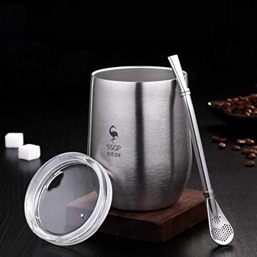 Double Wall Stainless Steel Cup with Lid Heat Resistant Portable Mate Tea Mug with Straw and Brush