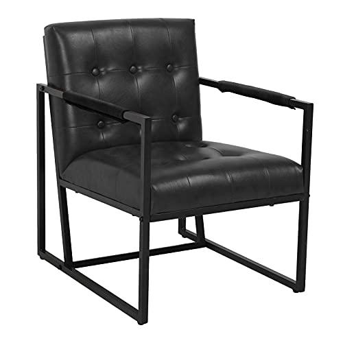 SVITA Jones Sessel Polsterstuhl Kunstleder Loungesessel Relaxsessel Fernsehsessel (Schwarz)