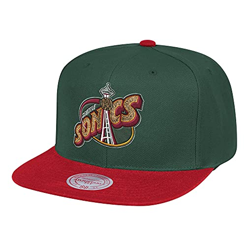 Mitchell & Ness Wool Seattle Supersonics - Gorra, color verde y rojo