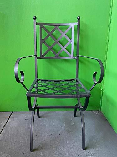 Chaise à Losanges avec accoudoirs en Cadre Plein 20 mm en Acier galvanisé avec Vernis Polyester Anthracite. Made in Italy Haute qualité. Taliani Ferro