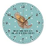 Mr. & Mrs. Panda Uhr, lautlos, 30 cm Wanduhr Otter mit Kind mit Spruch - Farbe Türkis Pastell