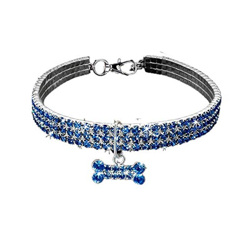 OHHCO Handmade Cats Collar Safe Adjustable Cute Rhinestone Collar for Down 33 cm Neck Circumference Pets,Blue M