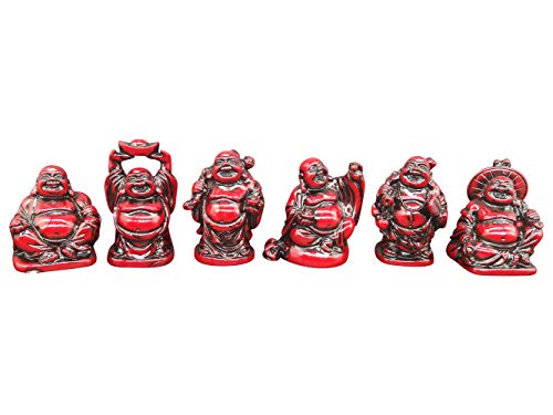 2'' Red Resin Laughing Buddha Figurines Home Decor Statue Gift/Birthday Gift/House Warming Gift/Collection Set of 6