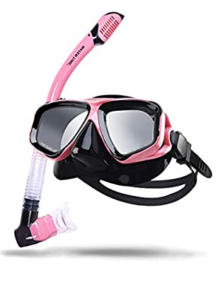 Watertime Snorkeling Package Set for Adults with Anti-Fog Coated Glass and Silicone Diving Mask (Pink)