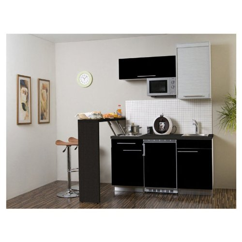 Mebasa MCFT240SS Küche, Hochwertige Einbauküche, Design Miniküche, Moderne Singleküche, Küche 174 cm Hochglanz schwarz inkl. Einbaugeräte - Mikrowelle, Kühlschrank, Duo Kochplatte und Edelstahl Einbauspüle