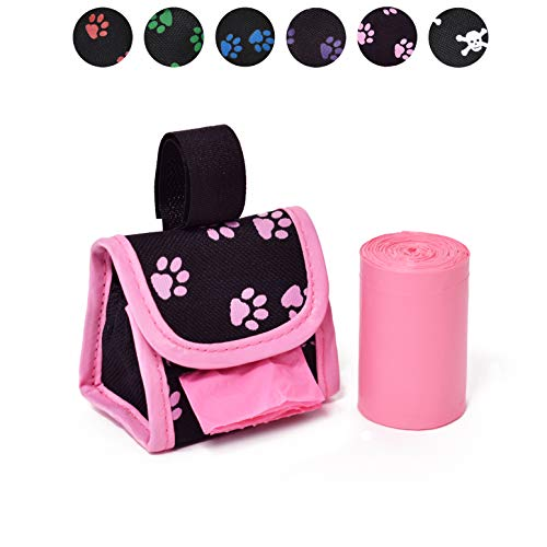 Doggie Walk Bags 2-Roll Designer Bags, Pink Paw/Pink/Citrus Bags On Board Leash