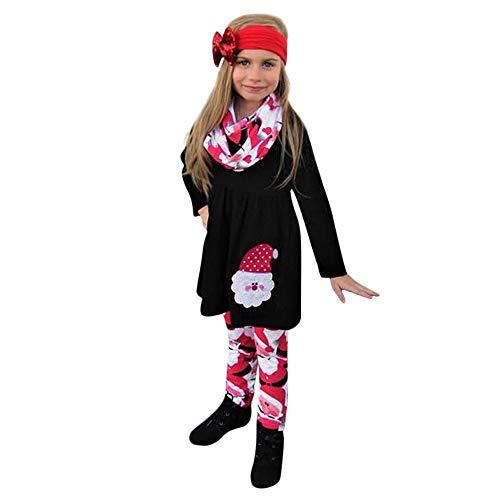 Hui.Hui Ensemble Christmas Bébé Filles Santa Claus Impression Robe à Manches Longues + Imprimé Pantalons + Bandeau Tenues Costume Cadeau Noël Chic Noël Vêtements