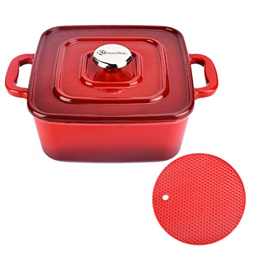 Kinovation Dutch Oven 3 Quart Enamel Coated Cast Iron Square Cookware Pot with Lid amp Silicone Mat for Induction Gas Ceramic Glass Electric Stovetop