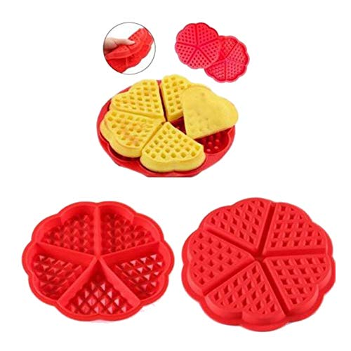 gluckliy plancha para gofrera para gofres de corazón, silicona, antiadherente molde de, Rojo