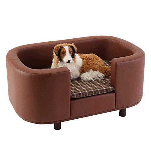 GBY Dog kennel, dog sofa dog bed, PU leather solid wood four seasons Teddy kennel pet nest, suitable for large, medium and small dog kennel, can be used as animal bed-L