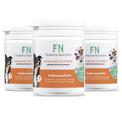 Feddema Canis-Motus Forte Leberwurst Gelenk Ergänzungsfutter für Hunde mit Teufelskralle Glucosamin MSM Grünlippmuschel I Futterergänzung Hunde Gelenke Tabletten I 3 Packungen á 90 Tabs