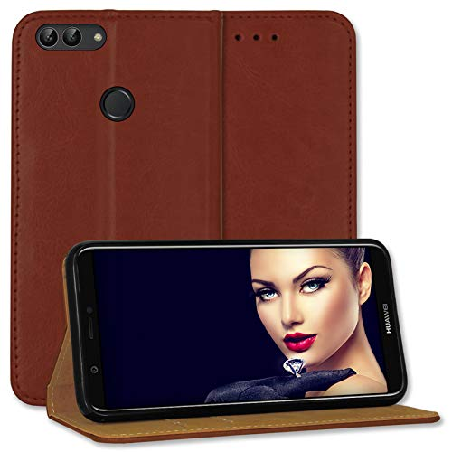 mtb more energy® Leder-Tasche Bookstyle für Huawei P smart/Enjoy 7S (5.65'') - braun - Echtleder - Schutz-Hülle Wallet Folio Cover Hülle