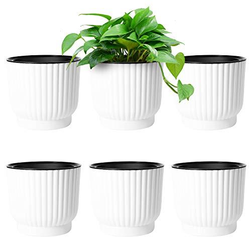 T4U 15cm Selbstbewässerung Blumentopf mit Docht Kunststoff Klein Weiß 6er-Set