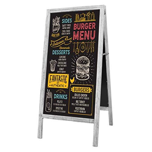 A型 看板 ブラックボード 両面 立て看板 ウェルカムボード スタンドボード 幅45×高さ95�p 木製 黒板 スタンド 室内 屋外 カフェ レストラン サロン インテリア 開店 祝い メニューボード マーカー チョーク 磁石 対応