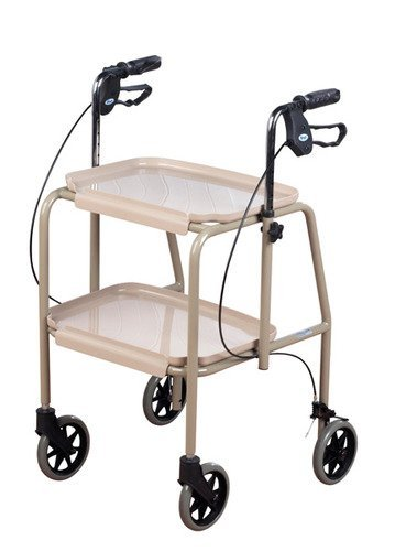 Homecraft Deluxe Walker Trolley, Mobility Aid with Built in Trays for Carrying Personal Items, Sturdy Walking Device…
