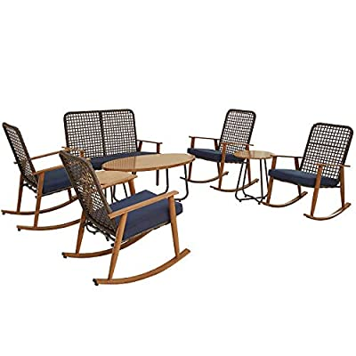 PatioFestival Patio Conversation Set Wood Grain Finish Outdoor Furniture Sets Rocking Chairs Loveseat with Coffee Table (8Pcs,Blue)