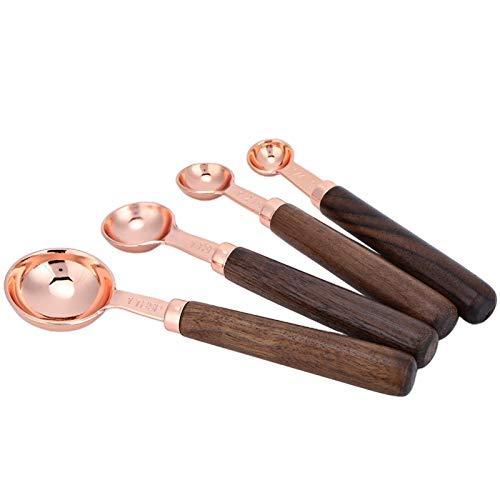 Juego de medir, cucharas medidoras, acero inoxidable 4 piezas/juego Juego de tazas y cucharas medidoras para cocina, restaurante, cafetería, hornear