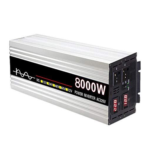 FDQNDXF Inversor de Onda Sinusoidal Pura 5000W / 6000W / 8000W Inversor de Coche DC 12V / 24V a AC 220V Convertidor de Energía con Pantalla LED Dual, para Caravana RV
